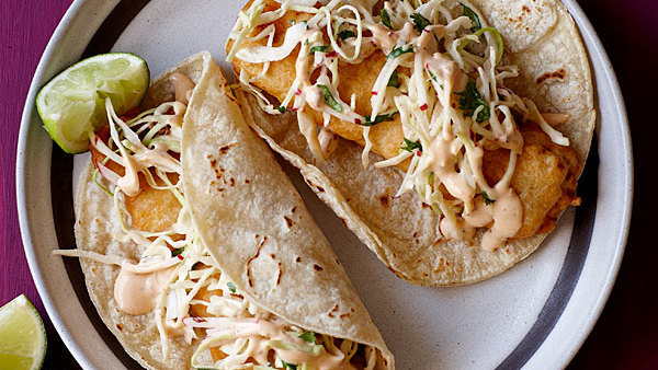 Shrimp tacos with spicy cabbage slaw recipe finecooking for Grilled fish taco recipe with cabbage slaw