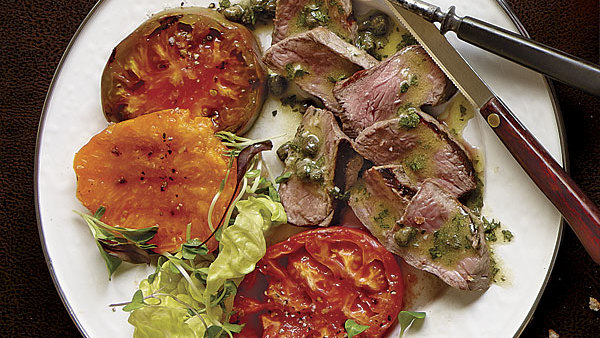 Grilled Denver Steak and Tomatoes with Caper-Mustard ...