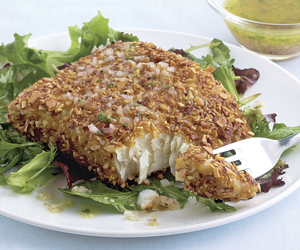 Almond-Crusted Halibut - Recipe - FineCooking