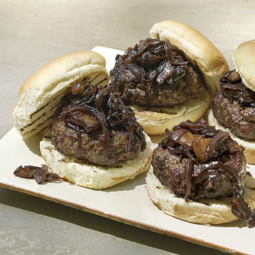 Bacon Burgers with Bacon-Onion-Balsamic Jam - FineCooking