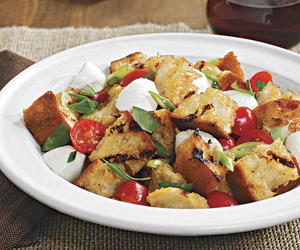 grilled bread salad with tomatoes and goat cheese