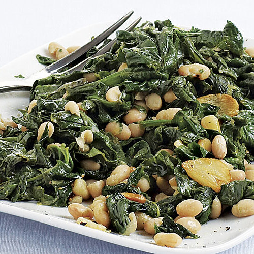 Sautéed Spinach with White Beans and Pine Nuts - FineCooking
