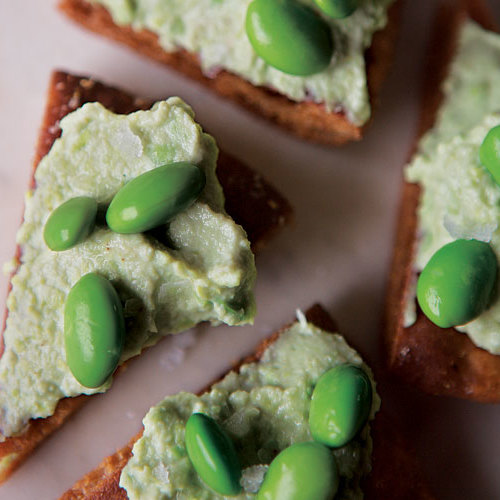 Edamame Hummus with Spiced Pita Chips - FineCooking