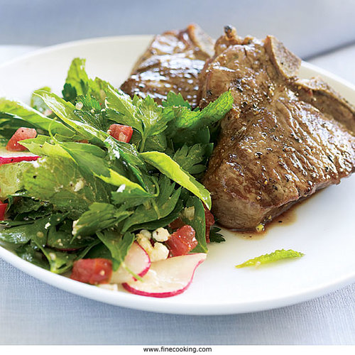 Grilled Lamb Chops with Fresh Herb & Feta Salad - FineCooking