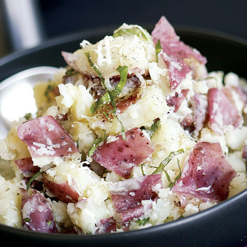 Smashed Red Potatoes With Basil Parmesan