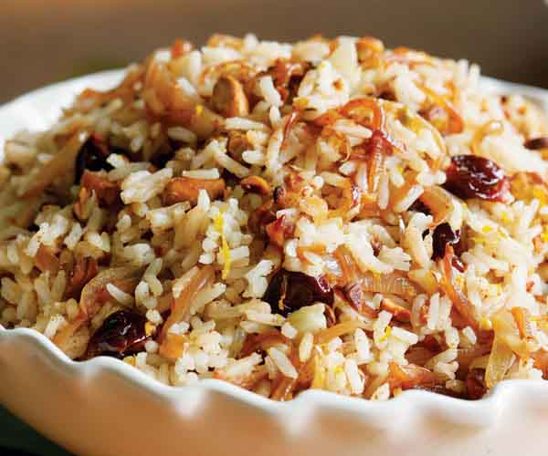 How to cook rice perfectly finecooking rice pilaf with spiced caramelized onions orange cherry pistachio ccuart Images