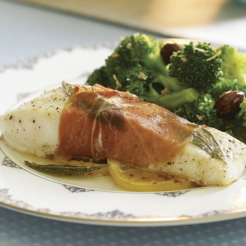 Prosciutto wrapped halibut with sage butter sauce for How to cook halibut fish