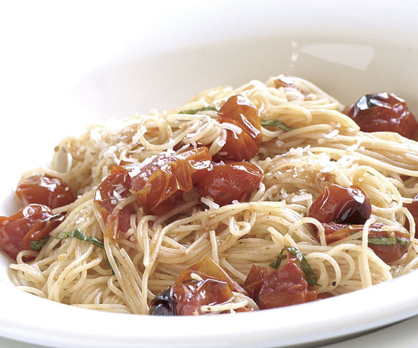 Garlicky Angel Hair with G Tomatoes - Recipe - FineCooking