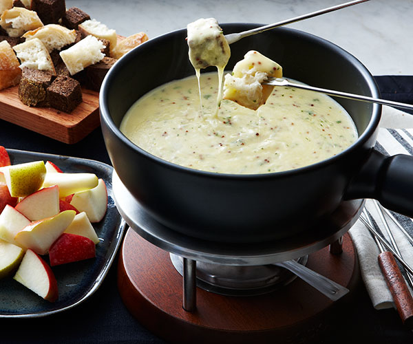Cheese Fondue with Whole-Grain Mustard and Tarragon - FineCooking