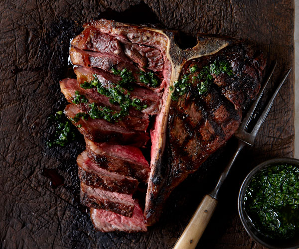 Grilled porterhouse steak with chimichurri sauce recipe - Steak d espadon grille sauce combava ...