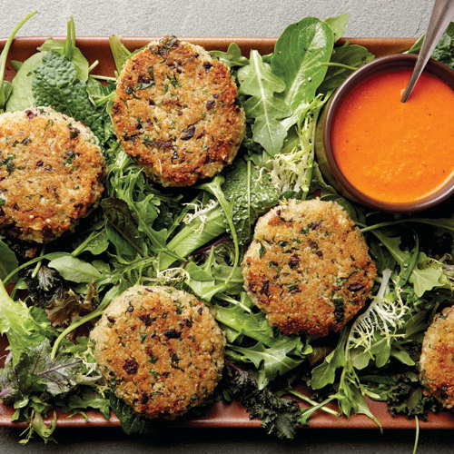 12 ideas for cooking quinoa finecooking quinoa black olive cakes with baby greens roasted red pepper sauce ccuart Images