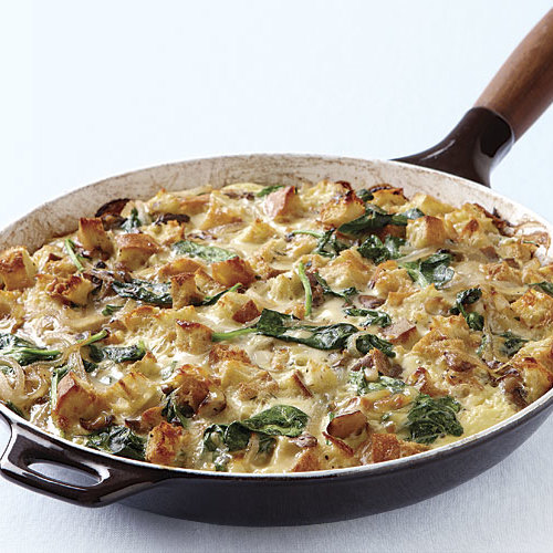 mushroom and spinach skillet strata finecooking