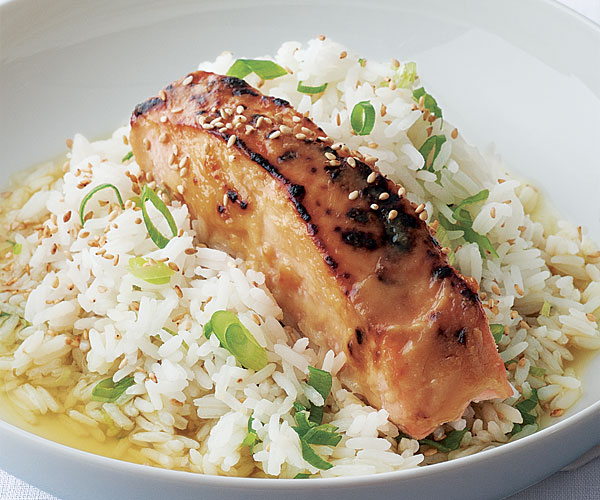 Miso-Glazed Salmon with Green Tea Rice - Recipe - FineCooking