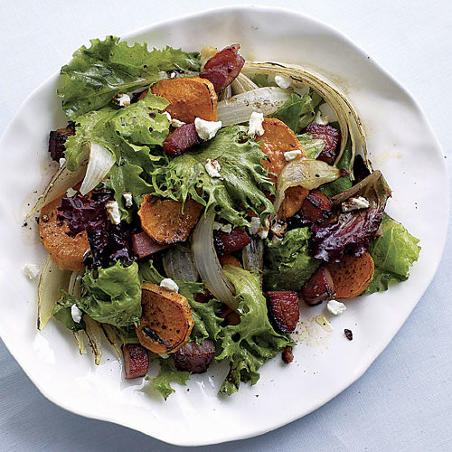 Sweet Potato, Ham, and Goat Cheese Salad - FineCooking