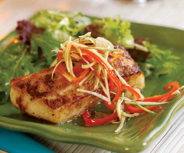 Chinese five spice halibut with pickled red pepper for How to cook cod fish in a pan