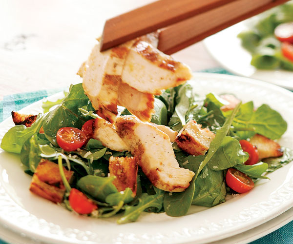 Grilled Chicken Arugula Caesar Salad With Grilled
