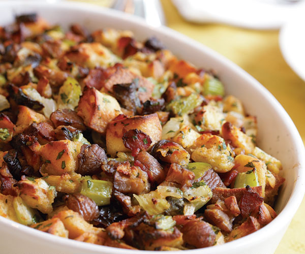 Herbed Bread Dressing with Bacon, Chestnuts & Prunes ...