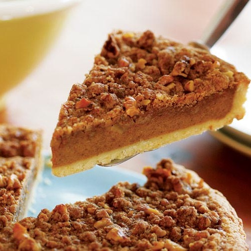 Bourbon Pumpkin Tart with Walnut Streusel - FineCooking
