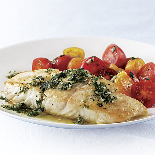 Pan seared halibut with salmoriglio finecooking for Pan seared fish recipes