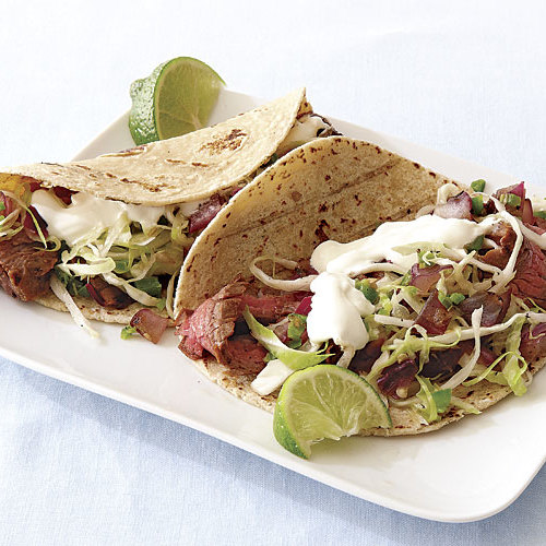 Grilled Steak Tacos with Spicy Slaw - FineCooking