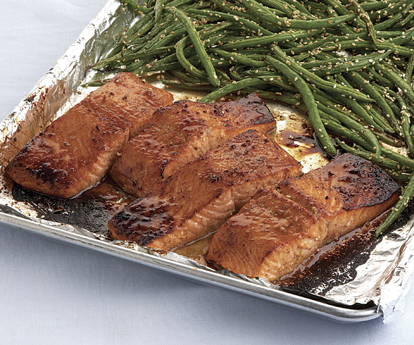 Five-Spice-Glazed Salmon with Sesame Green Beans - Recipe ...