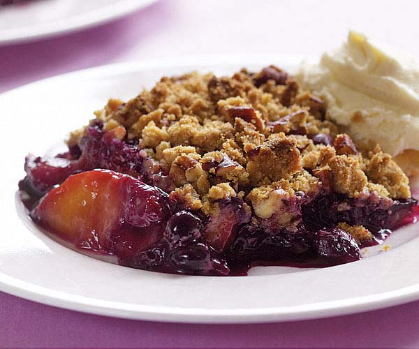 Peach & Blueberry Crisp with Spiced-Pecan Topping - Recipe ...