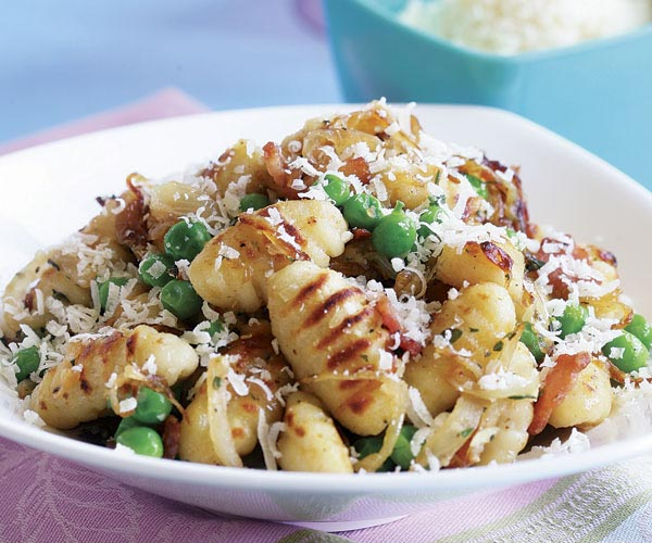 Pan-Fried Gnocchi with Bacon, Onions, & Peas - Recipe - FineCooking