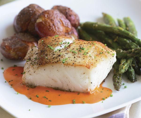 Sear Roasted Halibut With Roasted Red Pepper Puree