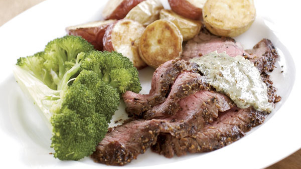 Seared Flank Steak with Shallot-Mustard Sauce - Recipe ...