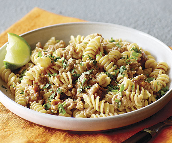 Rotini with Ground Pork and Spicy Peanut Sauce - Recipe ...