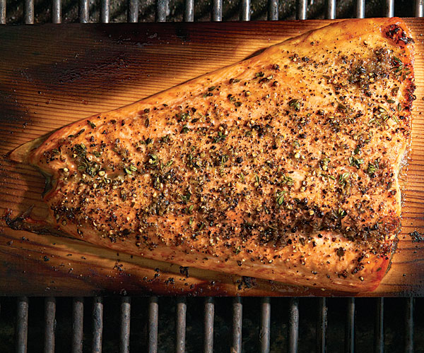 Cedar Planked Salmon With Lemon Pepper Rub And Horseradish