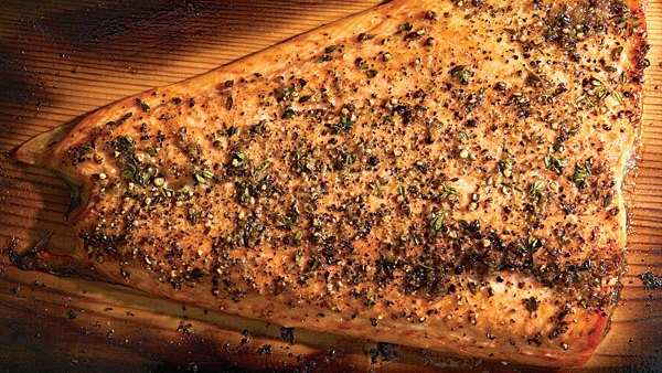 Cedar Planked Salmon With Lemon Pepper Rub And Horseradish Chive Sauce