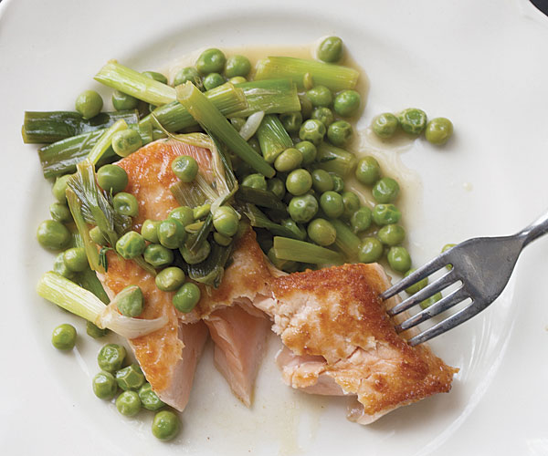 Salmon with Ramps and Peas