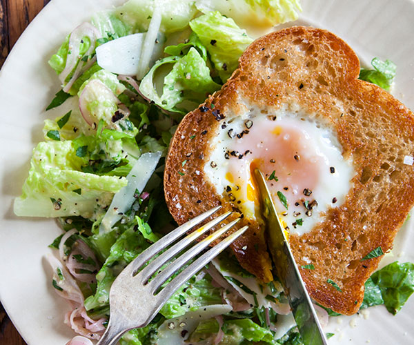 Caesar Salad with Egg in a Frame