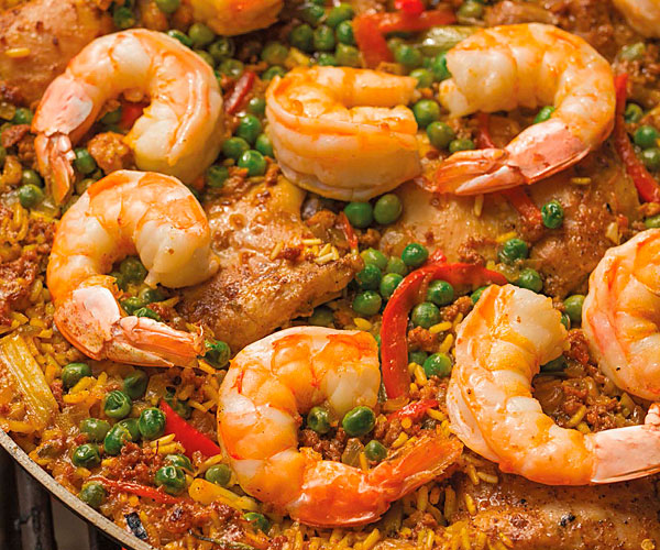 Barbecue Paella with Chicken, Shrimp & Chorizo Sausage