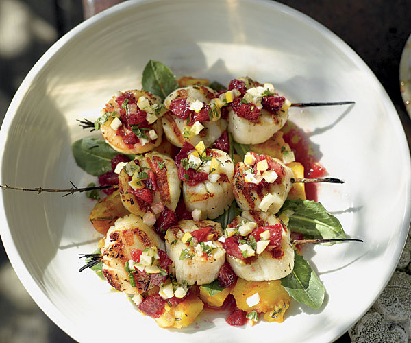 Atlantic Sea Scallops with Saffron Potatoes and Blood Orange–Meyer Lemon Salsa