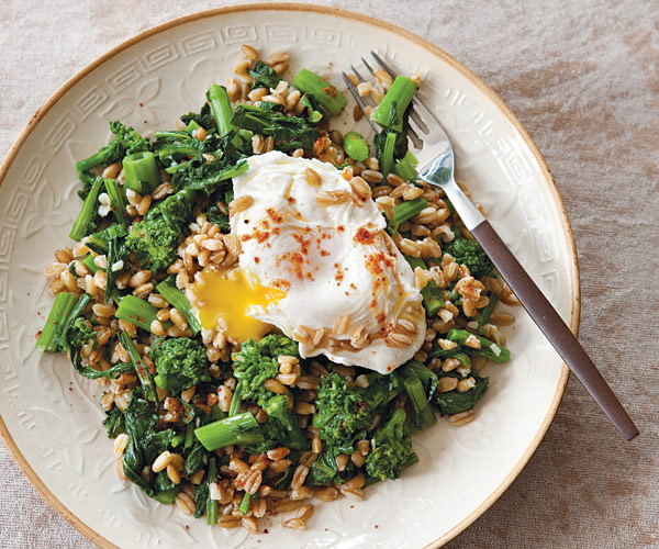 Farro Salad with Broccoli Rabe and Poached Egg