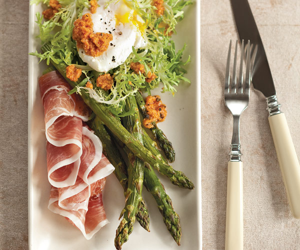 Roasted Asparagus and Frisée Salad with Poached Eggs and Romesco Sauce