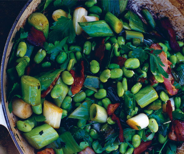 Spring Leeks with Fava Beans and Bacon