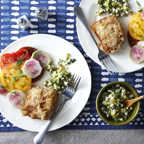 Club soda finecooking tempura fried opah with pineapple thai basil salsa forumfinder Image collections