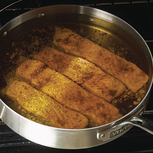 A new way to cook fish olive oil poaching finecooking for Frying fish in olive oil