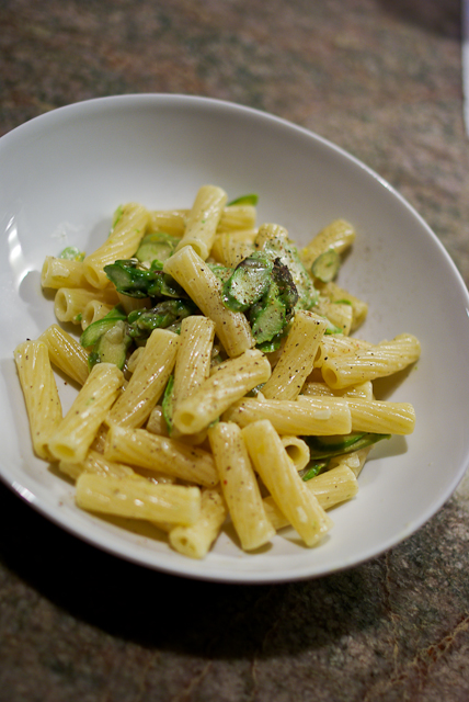 Asparagus pasta chez panisse style finecooking toss with cooked penne or rigatoni adding a bit of reserved pasta cooking water if necessary and enjoy with a little more pepper ground on top ccuart Image collections