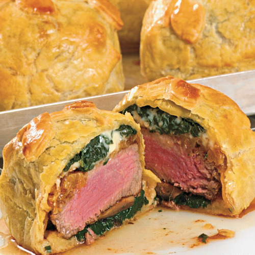 Beef Wellingtons with Spinach, Mushroom and Blue Cheese