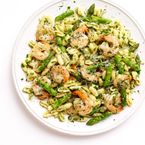 cavatelli with shrimp and asparagus