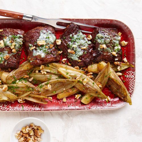steak with endive and blue cheese