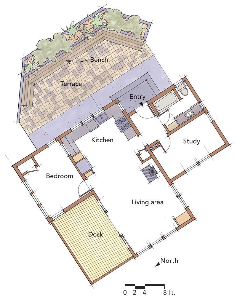 house floor plans no hallways. A small house is no place to spend precious space on long  narrow hallways Instead centrally locate the entry hall so that rooms can Small House Secrets Fine Homebuilding