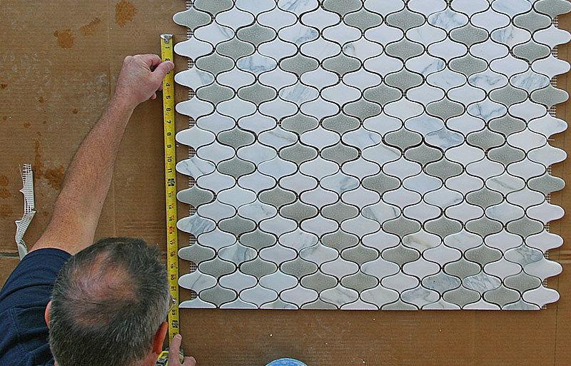 Beadboard tile backsplash