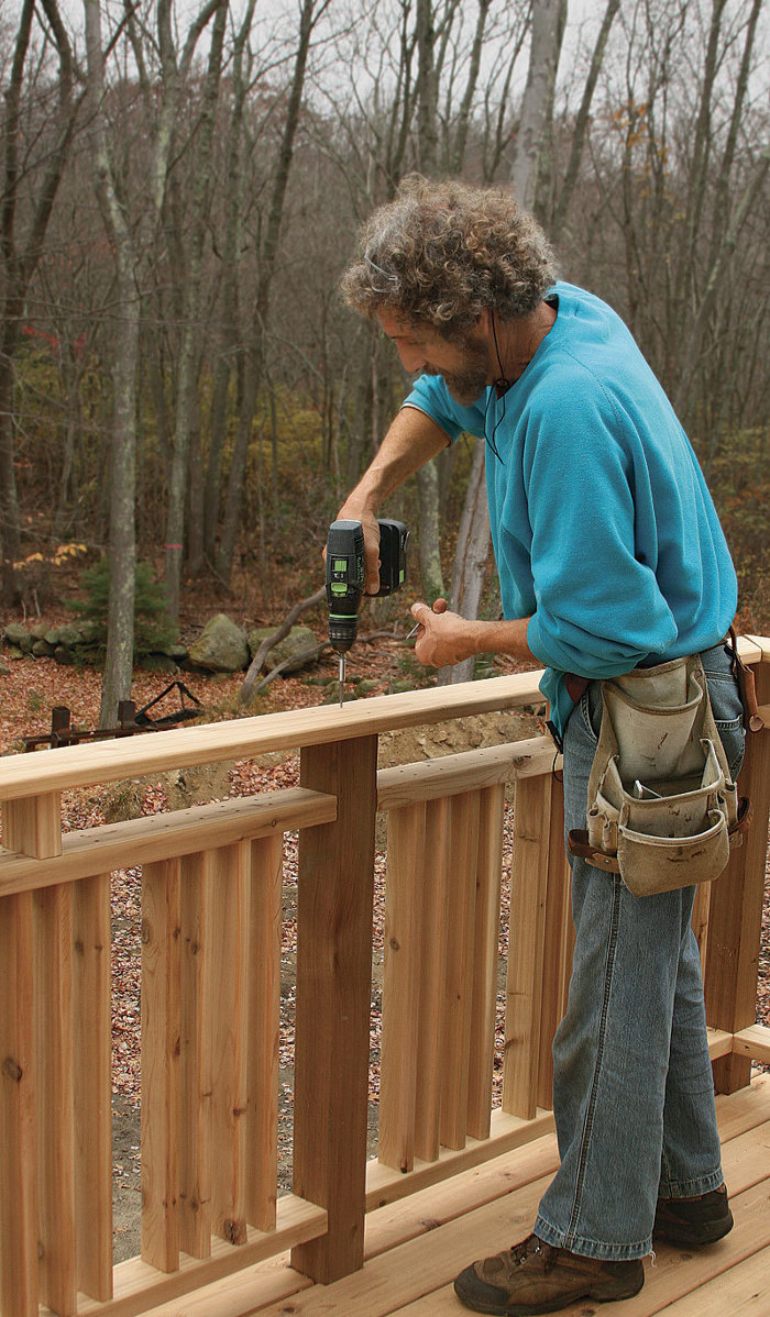 Site built deck railings fine homebuilding in this article fine homebuilding editorial adviser mike guertin details code compliant methods of attaching deck railing posts using fastenmaster bolts baanklon Images