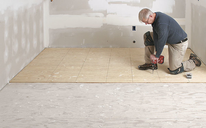 Prep a subfloor for tile fine homebuilding for Preparing floor for vinyl