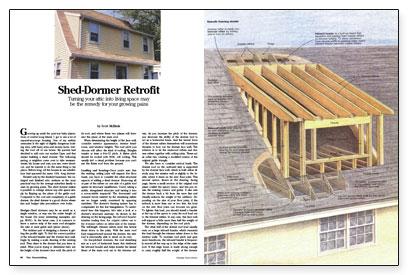 Shed dormer retrofit fine homebuilding Building a house cost